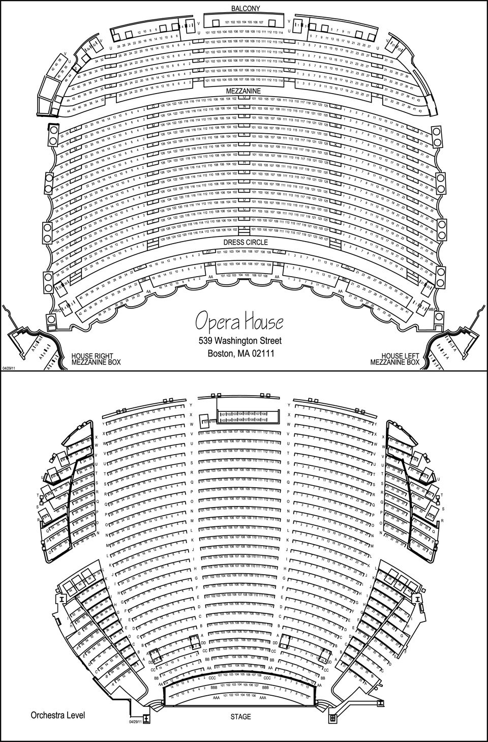 Citizens Bank Opera House seating chart