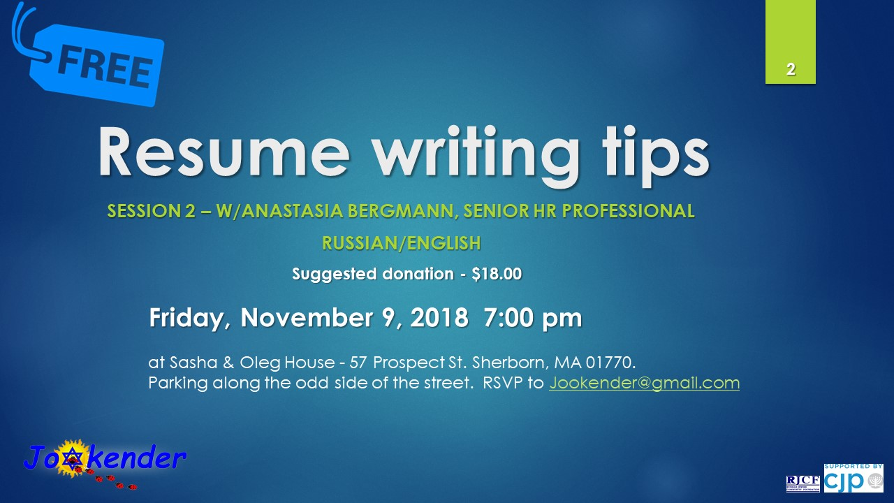Resume Writing Tips - Session Two with Anastasia Bergman